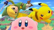 Toon Link Kirby y Pikachu en Ciudad Smash SSB4 (Wii U)