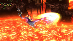 Ataque aéreo hacia delante de Samus Zero (2) SSB4 (Wii U)