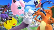 Mewtwo, Pikachu, Jigglypuff, Charizard, Lucario y Greninja en Islas Wuhu SSb4 (Wii U)
