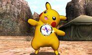 Pikachu con el Broche Franklin puesto en el Valle Gerudo SSB4 (3DS)