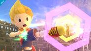 Lucas usando su ataque aéreo en el Coliseo SSB4 (Wii U)