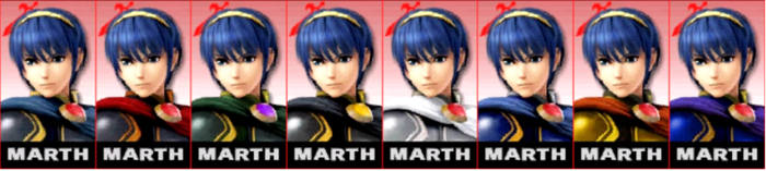 Paleta de colores de Marth SSB4 (3DS)