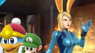 Samus Zero usando la capucha de conejo SSB4 (Wii U)
