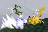 Pikachu electrocutando a Samus SSB (2)