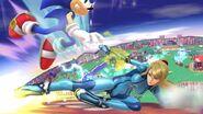 Samus Zero y Sonic en Sobrevolando el pueblo SSB4 (Wii U)