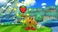 Pac-Man realizando su movimiento especial normal en Reino Champiñón U SSB4 (Wii U)