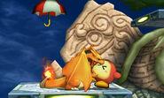 Charizard mordiendo a un Waddle Dee Sombrilla en la Smashventura SSB4 (3DS)