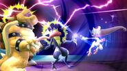 Mewtwo usando su Smash Final contra Bowser y Greninja SSB4 (Wii U)