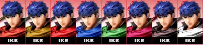 Paleta de colores de Ike SSB4 (3DS)
