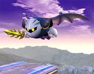 Meta Knight volando tras Lanzadera SSBB