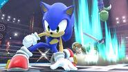 Sonic Link y Luigi en el Ring de boxeo SSB4 (Wii U)