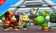 Yoshi y Diddy Kong junto con Canela en SSB4 (3DS)