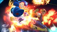 Captain Falcon atacando a Mega Man en el Castillo de Dr. Wily SSB4 (Wii U)