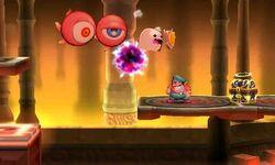 Dos Monoculus junto a un Fantasma atacando a Wario en Smashventura SSB4 (3DS)