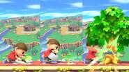 El Aldeano plantando y cortando un arbol SSB4 (Wii U)