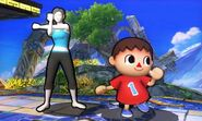 Entrenadora de Wii Fit y Aldeano en Campo de batalla SSB4 (3DS)