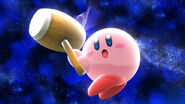 Kirby utilizando su martillo (SSB. for Wii U)