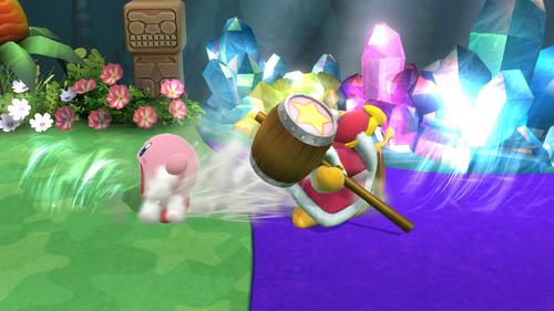 Kirby y el Rey Dedede usando Tragar SSB4 (Wii U)