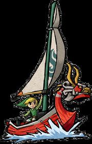 Art Oficial del Mascarón Rojo junto a Link en TLoZ The Wind Waker