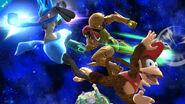 Diddy Kong usando su ataque aéreo hacia atrás contra Samus y Lucario SSB4 (Wii U)