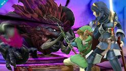 Ganondorf usando Bestia de las Tinieblas contra Link y Lucina SSB4 (Wii U)