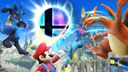 Mario, Charizard, Lucario y Samus Zero junto a la Bola Smash SSB4 (Wii U)