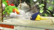 Yoshi siendo perseguido por el Bombchu en el Vergel de la Esperanza SSB4 (Wii U)
