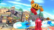 Sheik y Pac-Man en Sobrevolando el pueblo SSB4 (Wii U)