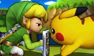Toon Link y Pikachu en el Tren de los Dioses SSB4 (3DS)