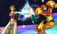 Zelda usando su ataque normal contra Samus en la Senda Arco Iris SSB4 (3DS)
