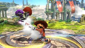 Lanzamiento hacia atrás Tirador Mii SSB4 Wii U