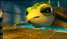 Link y la tortuga en The Legend of Zelda Majora's Mask 3D