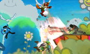 Magno atacando a Fox, Lucario y Link SSB4 (3DS)