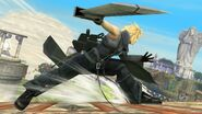Cloud con el traje alternativo de Advent Children en Altárea SSB4 (Wii U)