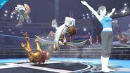 Entrenadora de Wii Fit alzando las manos en SSB4 (Wii U)