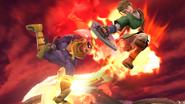 Captain Falcon usando su Salto depredador en el aire contra Link SSB4 (Wii U)