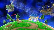 Mario, Bowser, Samus y el Aldeano en la Galaxia Mario SSB4 (Wii U)