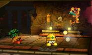 Samus junto a un Mettaur y un Octorok en la Smashventura SSB4 (3DS)