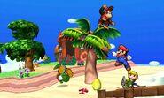 Yoshi, Mario, Diddy Kong y Toon Link en la Isla Tórtimer SSB4 (3DS)