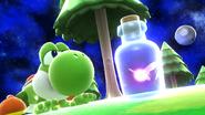 Yoshi junto a un hada embotellada en Galaxia Mario SSB4 (Wii U)