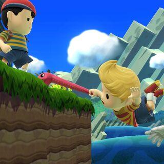 Lucas usando su Agarre aéreo para recuperarse en <i>Super Smash Bros. para Wii U</i>.