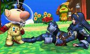 Olimar y Lucina en Isla Tórtimer SSB4 (3DS)