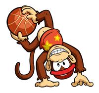 Pegatina de Diddy Kong en Mario Slam Basketball SSBB