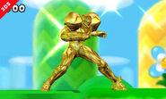 Samus dorada en el escenario Llanuras Doradas SSB4 (3DS)