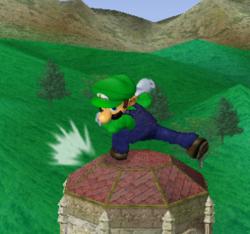 Ataque fuerte hacia abajo de Luigi SSBM
