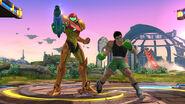 Samus y Little Mac realizando sus respectivas burlas en el Campo de Batalla - (SSB. for Wii U)