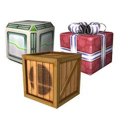 Diferentes tipos de <i>cajas</i> en <i>Super Smash Bros. Brawl</i>.