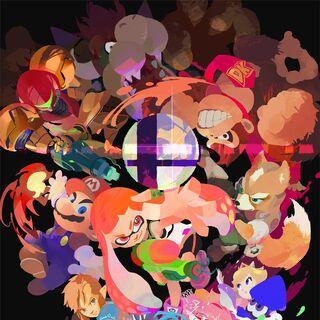 Poster publicado por la cuenta oficial de Twitter de <i>Splatoon</i> como celebración de la inclusión del inkling en <i>Super Smash Bros. Ultimate</i>.