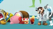 Dr. Mario, la Entrenadora de Wii Fit, Kirby y el Rey Dedede en la Sala de Wii Fit SSB4 (Wii U)
