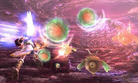 Castañazos atacando a Pit en Kid Icarus Uprising